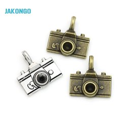 Wholesale vintage camera jewelry - JAKONGO 10pcs lot Antique Silver Antique Bronze Plated Vintage Camera Charms for Jewelry Making DIY Handmade Pendants 22*21mm