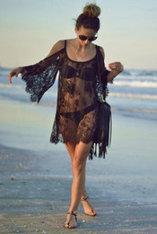 Wholesale Short Sleeve See Through Blouse - Meow white Hollowed beach sunscreen Lace Strapless Dress Blouse see-through dress sexy beach Sexy perspective pajamas