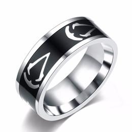 2019 logotipo do credo assassins Atacado-Titanium aço Assassins Creed anel tamanho 7 ~ 13 Assassins Creed mestre logotipo símbolo 8 MM titânio aço anel anéis acessório logotipo do credo assassins barato