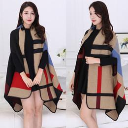 Wholesale Poncho Tricot - 2016 New Brand Women's Winter Poncho grid Tricot plaid Vintage Blanket Cachecol Lady Knit Shawl Cape Cashmere Scarf Poncho YG079