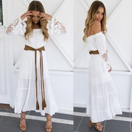 Wholesale Flare Maxi Skirt - 2018 Hottest sexy slash neck style Dresses skirt white Elegant lace long printed skirt for beach with free shipping