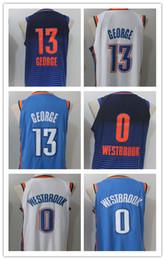76e74a100 2018 New Hommes 0   Russell Westbrook 13 Paul George Basketball Maillot  Paul George Jerseys Broderie Bleu Blanc Chemise Livraison Gratuite