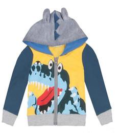 Wholesale Kids Jacket Animal Hoodie - Kids cute dinosuar jacket 5sizes for 1-6T boys Baby cartoon animal pattern zipper hoodie B11