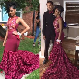 Wholesale Silk Tulle Dress - Burgundy Mermaid Prom Party Dresses 2018 Sheer Neckline Appliques Evening Dress Long Sweep Train Black Girl Evening Gowns