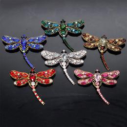 Jóia da libélula vintage on-line-Cristal Retro Vintage Libélula Broches para As Mulheres Grande Inseto Broche Pin Moda Vestido Casaco Acessórios Bonito Jóias