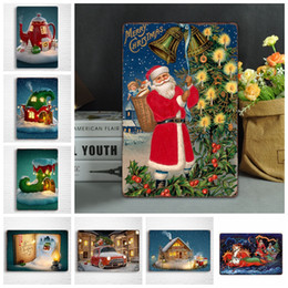 2019 dipinti di natale a parete Christmas Metal Painting Vintage Wall sticker Wall Art Iron Paintings Targhe in metallo Tin Plate Bar Bar Garage Decorazione della casa GGA1042 dipinti di natale a parete economici