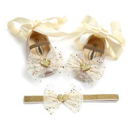 zapatos de jane Rebajas Bowknot Mary Jane Shoes con el juego de regalo Hairband Baby Girls Bautizo de zapatos con Riband Fashion Anniversary Party Princess Shoes