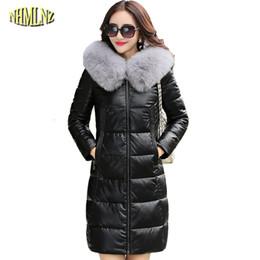 Wholesale sheepskin fox fur coat - Winter Women Jacket High quality Thicker Large size Long True Leather coat Hooded True Fox fur Warm Genuine leather coat WK257