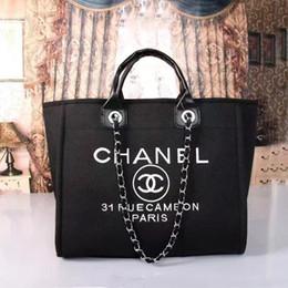 Wholesale Women Handbags Large - 2018 fashion brand name women handbags Canvas Shoulder bag chains large capacity bags handbag hobos totes purse Cosmetic Bag