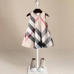 2018 été nouveau modèle treillis angleterre vent princesse jupe gilet jupe robe de fille en coton pur ? partir de fabricateur