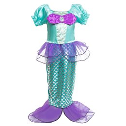 Wholesale little mermaid cosplay - New Lovely Princess Little Mermaid Girl Dresses Cosplay Costumes Dress Up Baby Dress Kids Party Theme Wear 1 2 Year Birthday Dress