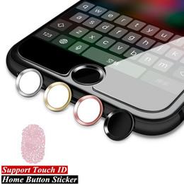 Bouton d'accueil autocollant iphone ipad en Ligne-Autocollant de bouton en aluminium ID de contact pour iPhone 5s 5 SE 4 6 6s 7 Plus 8 4S iPad Autocollants de téléphone Apple Identification d'empreintes digitales
