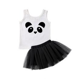 Ropa de panda de chicas lindas online-Lindo recién nacido niño niños niña bebé ropa de verano panda chaleco Tops Tutu tul falda trajes princesa niños ropa conjunto