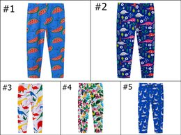 Wholesale Brown Leggings Children - Kids Skinny Leggings Cotton Watermelon Printed Dinosaur Autumn Flower Clothing for Girls Full Length Pants Slim Pencil Trousers Children