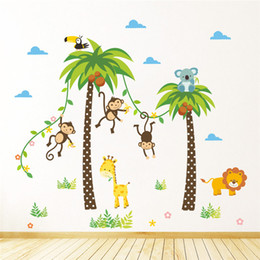 Wholesale Tree Decals For Kids Rooms - Jungle Wild Animals Giraffe Lion Monkey Palm Tree wall stickers for kids room Children Wall Decal Bedroom Decor Poster Mural