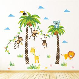 Джунгли дикие животные жираф Лев обезьяна Пальма стены стикеры для детская комната дети наклейки на стены спальня декор плакат росписи от Поставщики красивые картинки цветы