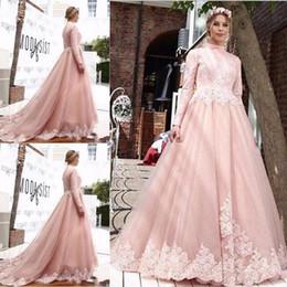 Wholesale hot arabic wedding dresses - Elegant A Line High Neck Pink Wedding Dresses 2018 Long Sleeves Arabic Lace Wedding Gowns Dresses with Appliques Hot