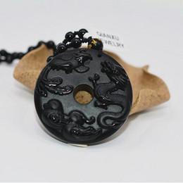 Wholesale dragon phoenix jade pendant - QIANXU Drop Shipping Black Obsidian Dragon and Phoenix with Mandarin Duck Jade Pendant Jade Jewelry Fine Jewelry