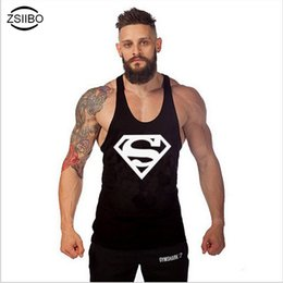 Wholesale clothes printing equipment - ZSIIBO TX97 Superman Singlets Mens Tank Tops Shirt,Bodybuilding Equipment Men's Golds Stringer Tank Top Clothes TX97