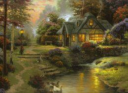 Wholesale painted paradise - Thomas Kinkade Landscape Oil Painting Reproduction Art Giclee Print On Canvas Mountain Paradise Modern Home Art Decoration Unframed Framed