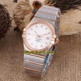 Дешевые Новые 42 мм Дата 123.20.38.21.52.001 Белый Бриллиант Циферблат Автоматические Мужские Часы Два Тона Розовое Золото Группа Мужские Спортивные Часы supplier two tone watch band от Поставщики две тональные часы