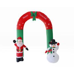 Arco de entrada on-line-2.4 M Mão Inflável Acenando Pai Natal E Boneco De Neve Arch Up Túnel de Entrada Para Decoração de Natal Loja de Decoração Ao Ar Livre