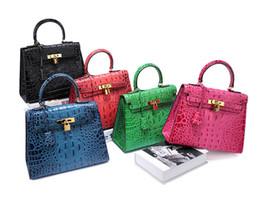 Wholesale Cell Phone Covers Animal Print - Free-shipping Italian Alligator Style Genuine Leather Lady Handbag Wholesale Faux Leather Handbag For Women Shoulder Bag