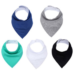 Wholesale Solid Color Baby Bibs - Simple Solid Color Baby Bibs Newborn Baby Bibs For Boys Girls Cotton Adjutable Snaps Newborn Children Apron Apron