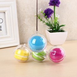Wholesale Clear Plastic Hanging Balls - 5cm Diameter Macaron Ball Decorative Transparent clear Macaron box plastic cake Ball Box with hanging hole wen5058