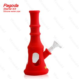 Wholesale Pagoda Glass - New Silicone Glass Hybrid Bong Waxmaid Pagoda Silicone Water Bong Water Pipe for Dry Herb Oil Wax CAN See Through