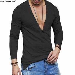 Wholesale men deep neck t shirt - INCERUN Men's Slim Fit Deep V Neck Summer Solid Long Sleeve Casual T-shirt Men Basic Tee Shirts Plus Size 5XL Hip Hop Streetwear