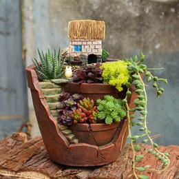 Wholesale Flower Gardens Designs - Vintage Design Flower Pot Resin Succulent Plants Pot Micro -Landscape Flowerpot Home Garden Decoration Bonsai