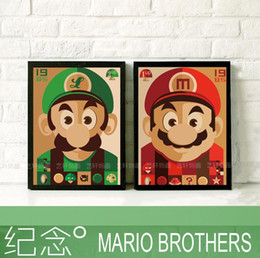 Wholesale Room Painting Games - Home decor 43*33 cm frame Mario Brothers bedroom children room ,kitchen modern decoration cartoon classical game draw