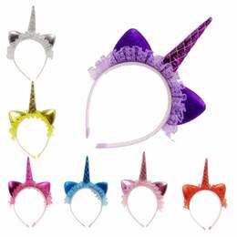 Venda quente Meninas Unicórnio Rendas Headband Crianças Adereços de Festa de Aniversário Crianças Dos Desenhos Animados Orelha de Gato Bonito Lindo Hairband de