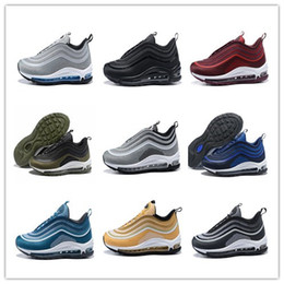 Wholesale blue express - 97 OG Tripel White Metallic Gold Silver Bullet 97 Best quality WHITE 3M Premium Running Shoes Men Women Free Express