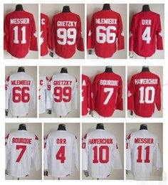 Ray bourque jersey on-line-Canadá 1991 Equipe Hóquei No Gelo Jersey 4 Bobby Orr 7 Ray Bourque 10 Dale Hawerchuk 11 Mark Messier 66 Mario Lemieux 99 Wayne Gretzky