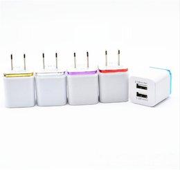 Adaptateur chargeur samsung en Ligne-2 USB 5V 2.1 Carré Double USB AC Voyage US Wall Charger Chargeur Double Chargeur Pour Samsung Galaxy HTC Smart Phone Adaptateur