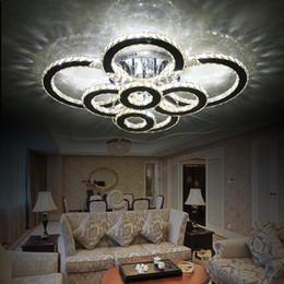 lámpara de techo de cristal anillo de luz moderna Rebajas Moderno creativo LED lámpara de techo sala de estar dormitorio anillo de cristal araña de interior LED brillo Atenuación lámparas de techo AC110-240V