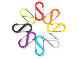 Wholesale Wiring Clips - Aluminum Alloy Dual Wire Gate Carabiner Clips Spring Snap Hooks Keychain Rope Buckle Tool 8 Styles Color Buckle FBA Drop Shipping G675F
