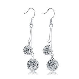 La moda coreana ciondola gli orecchini online-EH028 Dangle Chandelier per il regalo Orecchini pendenti in cristallo coreano doppio shambhala strass orecchino sfera gioielli moda donna