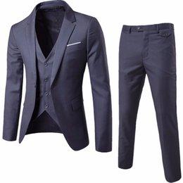 Vestes de soirée hommes occasionnels en Ligne-(Veste + Pantalon + Gilet) Costumes de mariage de luxe pour Hommes Casual Hommes Blazers Costumes Slim Costumes pour hommes Costume Business Party formelle classique