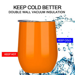 Wholesale Double Walled Tumbler Stainless - Egg Cups 12oz Stainless Steel Wine Glasses Double Wall Vacuum Insulated Cup Heat Preservation Tumbler Outdoor Travel Mug with Lid