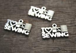 Серебряные швейные чары онлайн-20 шт. / лот - я люблю шить подвески, античный Тибетский серебряный тон швейные подвески подвески 12x20 мм