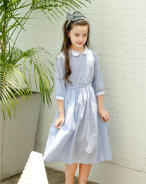 Wholesale Peter Pan Neck Dresses - 2018 Summer Girls Princess Dresses stripe Peter Pan collar half sleeve Fashion dress Children Clothing 5-10Y B18041#