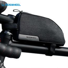 tessuti stradali Sconti ROSWHEEL 1L Black Bike Front Bag 300D Tessuto impermeabile testa Top Tube MTB Road Cycling Bag Accessori per biciclette Telaio per biciclette