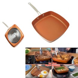 Wholesale Oven Fries - Non-Stick Copper Square Frying Pan With Ceramic Frying Red Pans Copper Oven Chef Square Fry Pans Cookware Cooking tools