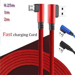 2019 usb oben Hybrid-Top-Qualität Schnellladegeschwindigkeit 90 Grad Doppelwinkel Mikro-USB-V8-Kabel Typ-C-Spiel Gaming-Kabel Sync-Daten 0,25m 1m 2m günstig usb oben