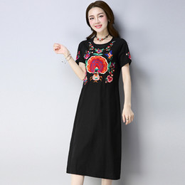 0a33fba736 Lovely And Cute Black Round Neck Dress Casual Women Summer Embroidery Short  Sleeve Straight Loose Clothes 2018 New