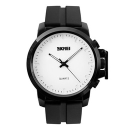 mens black large watch Promo Codes - SKMEI Leather Mens Quartz Watch Black Plating Large Dial Waterproof Fashion Casual Gentleman Wristwatches Relogio Masculino 1208