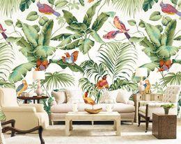 Wholesale bird live wallpaper - 3D stereo tropical garden flower bird painting style wallpaper bedroom TV background personality wallpaper mural Home Decor Wallpaper